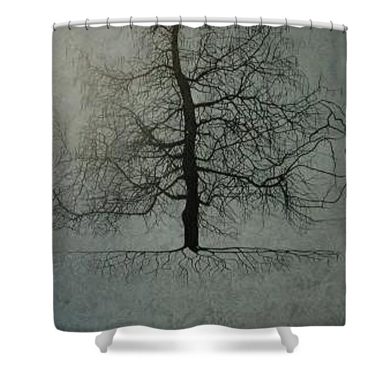Silhouette Shower Curtain featuring the painting Untitled Blue by Leah Tomaino