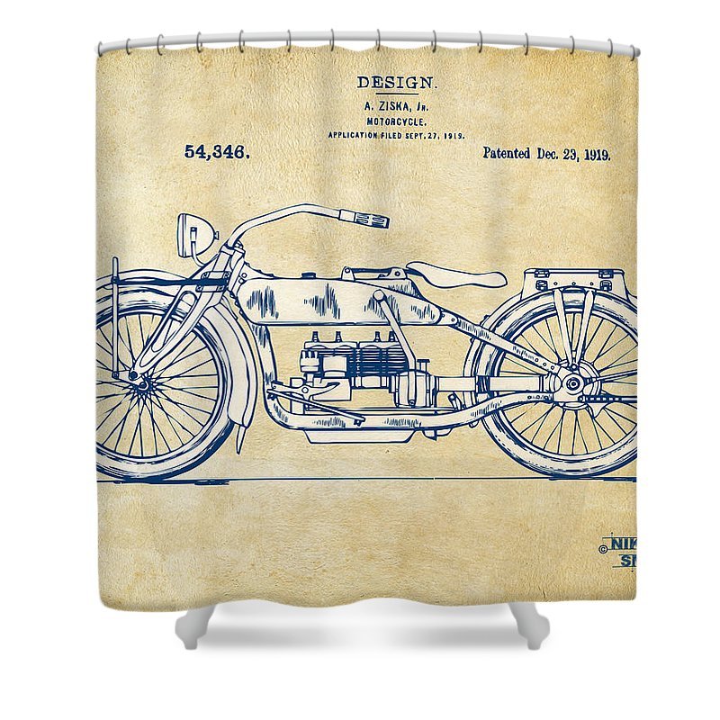 Vintage Harley Davidson Motorcycle 1919 Patent Artwork Shower Curtain For Sale By Nikki Smith