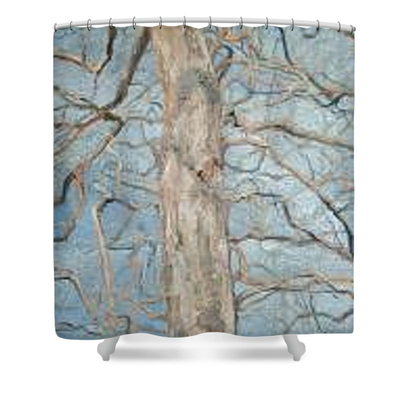 Tree Shower Curtain featuring the painting Winter Morning by Leah Tomaino