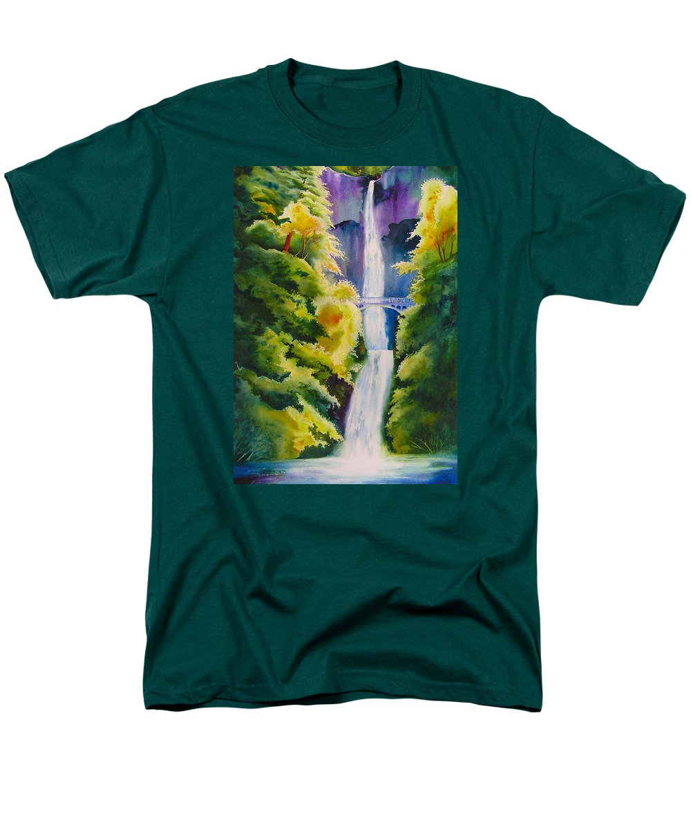 Waterfall Men's T-Shirt (Regular Fit) featuring the painting A Favorite Place by Karen Stark