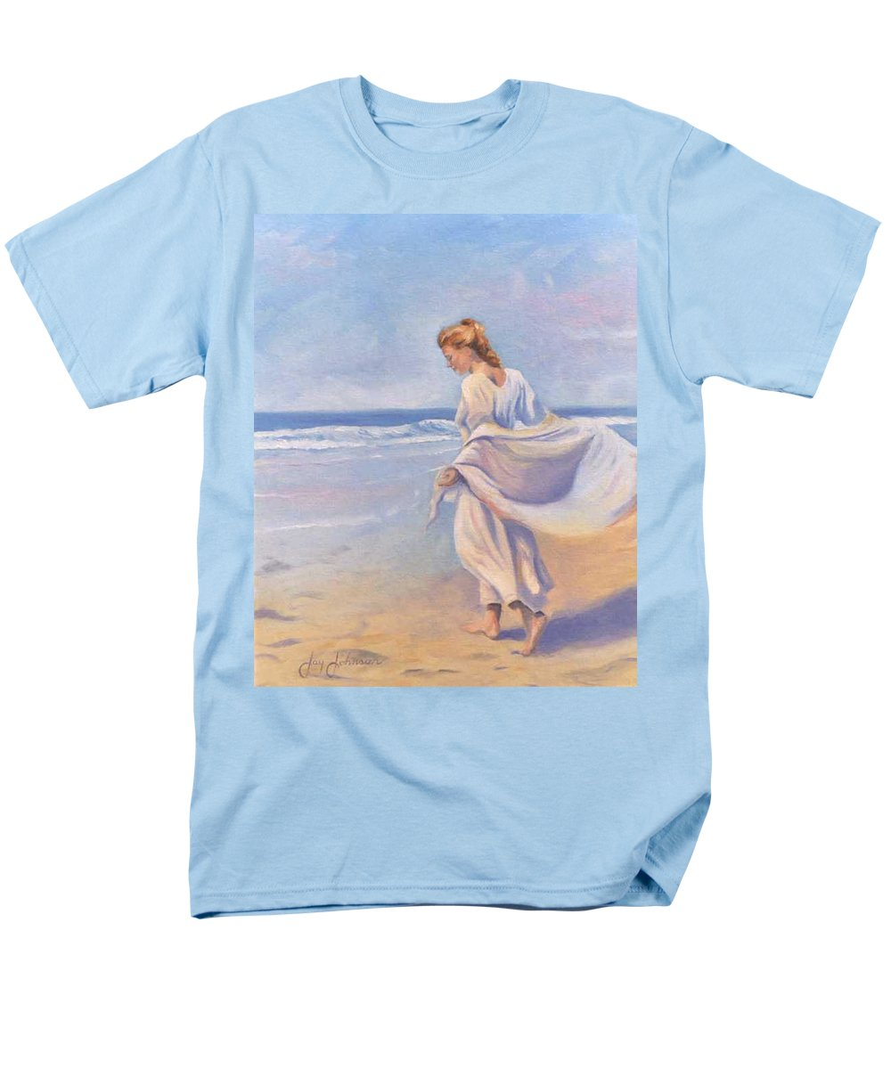 Beach Men's T-Shirt (Regular Fit) featuring the painting Golden Girls by Jay Johnson