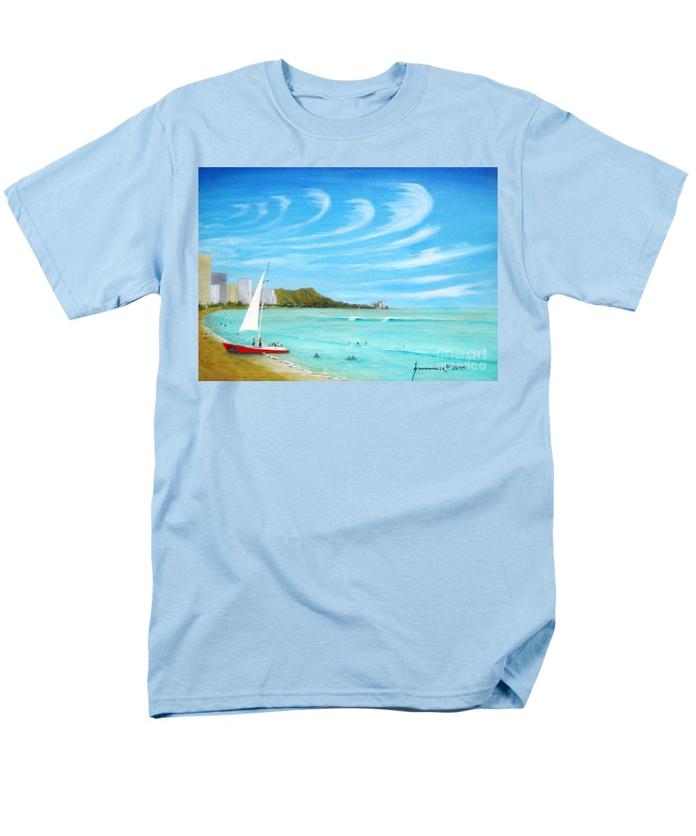 Waikiki Men's T-Shirt (Regular Fit) featuring the painting Waikiki by Jerome Stumphauzer