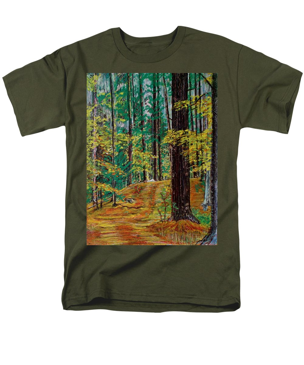 New Hampshire Men's T-Shirt (Regular Fit) featuring the painting Trail At Wason Pond by Sean Connolly