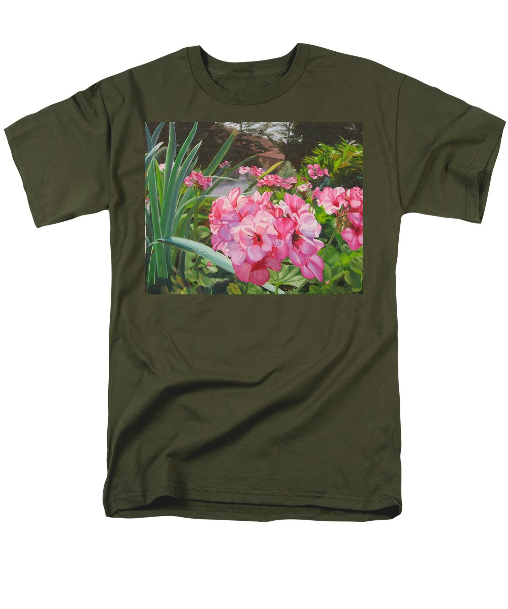 Pink Geraniums Men's T-Shirt (Regular Fit) featuring the painting Pink Geraniums by Lea Novak