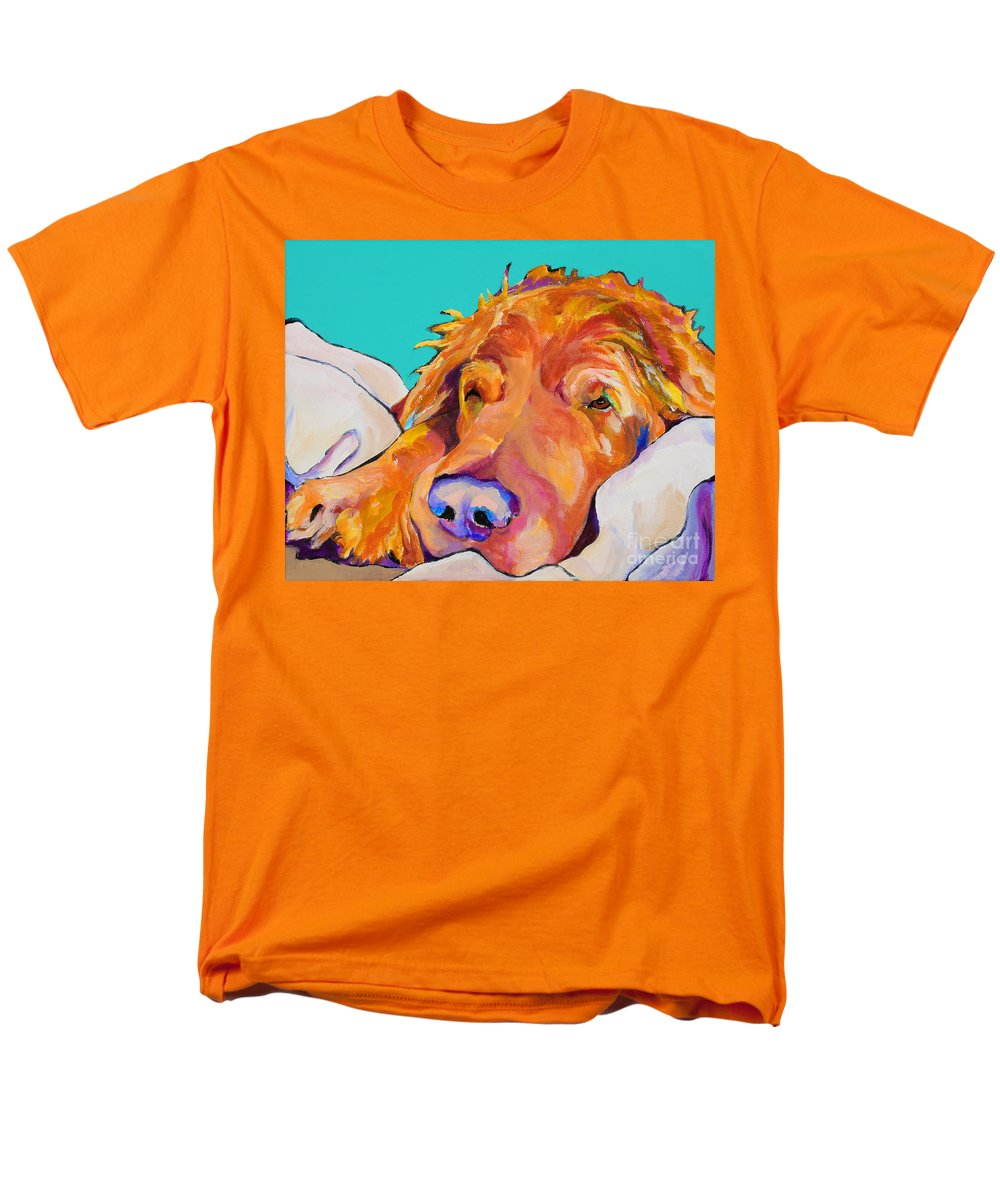 Dog Poortraits Men's T-Shirt (Regular Fit) featuring the painting Snoozer King by Pat Saunders-White