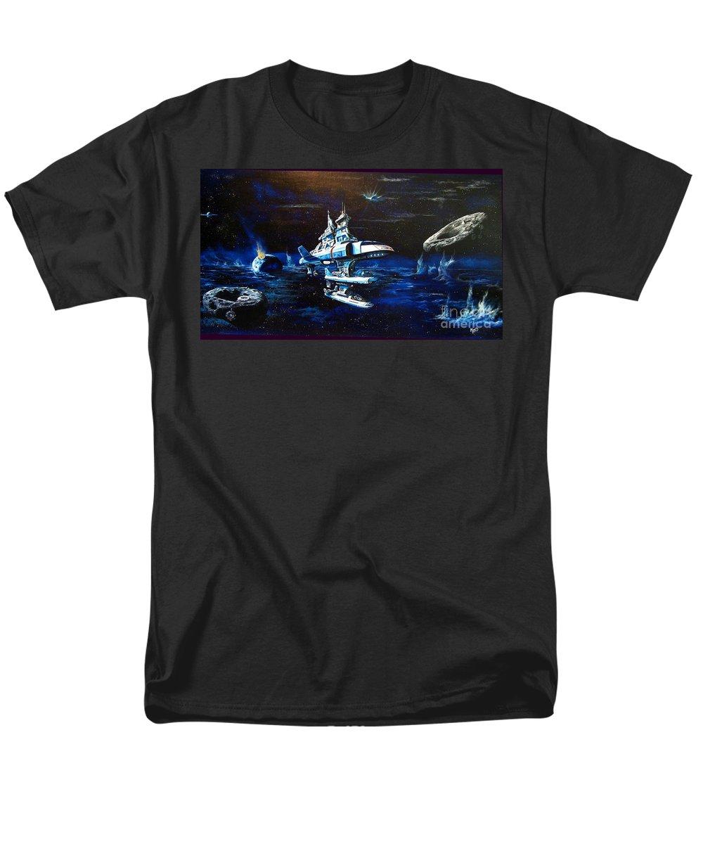 Alien Men's T-Shirt (Regular Fit) featuring the painting Stellar Cruiser by Murphy Elliott