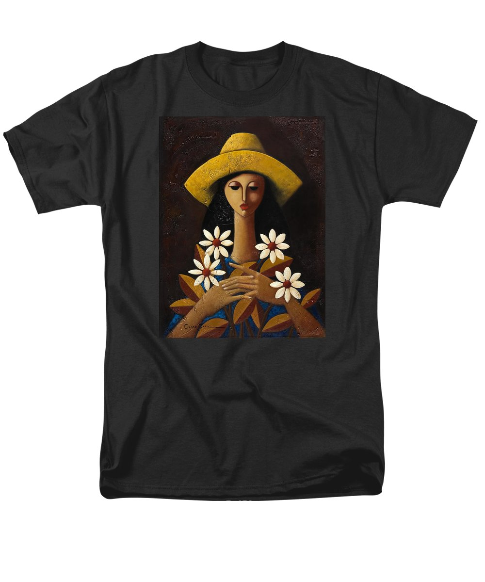 Puerto Rico Men's T-Shirt (Regular Fit) featuring the painting Cinco Margaritas by Oscar Ortiz