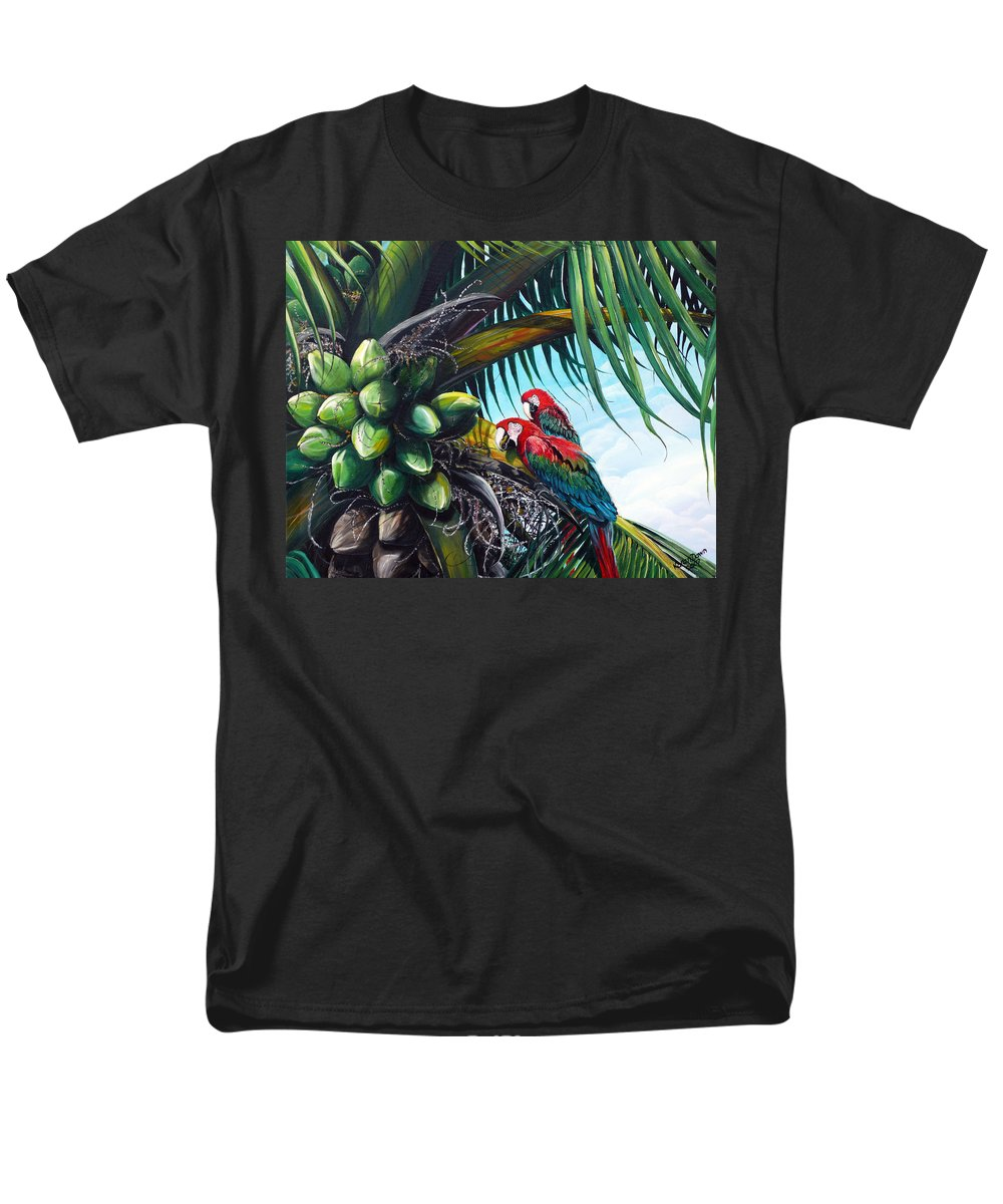 Macaws Bird Painting Coconut Palm Tree Painting Parrots Caribbean Painting Tropical Painting Coconuts Painting Palm Tree Greeting Card Painting Men's T-Shirt (Regular Fit) featuring the painting Friends Of A Feather by Karin Dawn Kelshall- Best