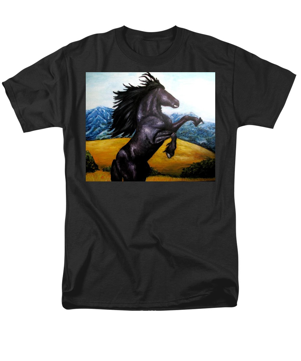 Horse Men's T-Shirt (Regular Fit) featuring the painting Horse Oil Painting by Natalja Picugina