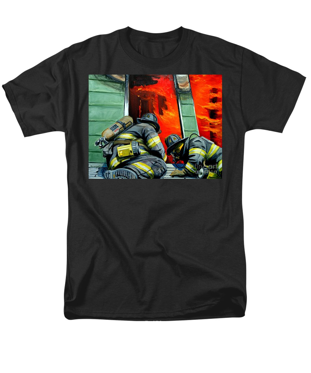 Firefighting Men's T-Shirt (Regular Fit) featuring the painting Outside Roof by Paul Walsh