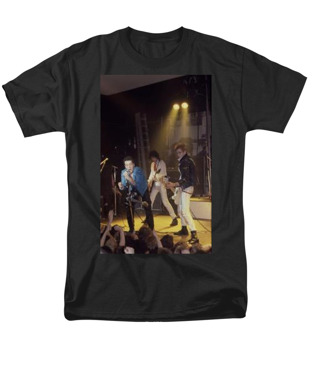 The Clash-london 1978 Photo By Dawn Wirth-copyrighted Men's T-Shirt (Regular Fit) featuring the photograph The Clash-london - July 1978 by Dawn Wirth