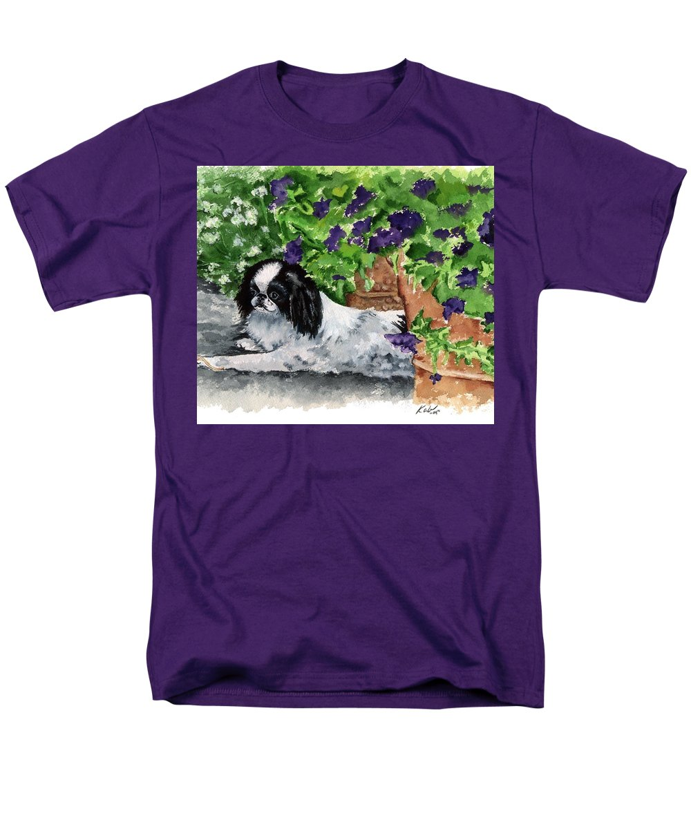 Japanese Chin Men's T-Shirt (Regular Fit) featuring the painting Japanese Chin Puppy And Petunias by Kathleen Sepulveda