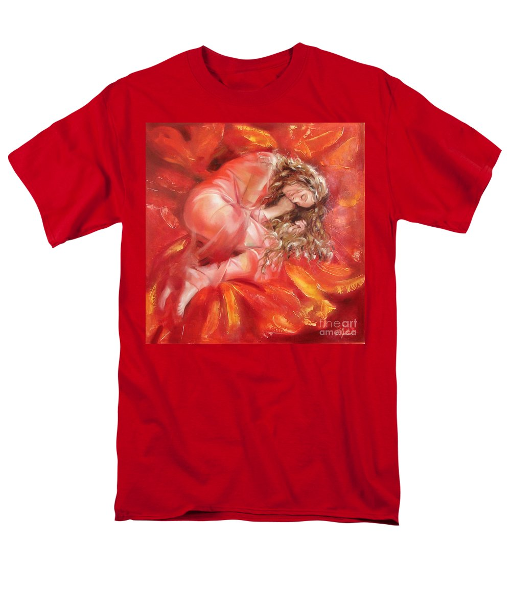 Oil Men's T-Shirt (Regular Fit) featuring the painting The Flower Paradise by Sergey Ignatenko