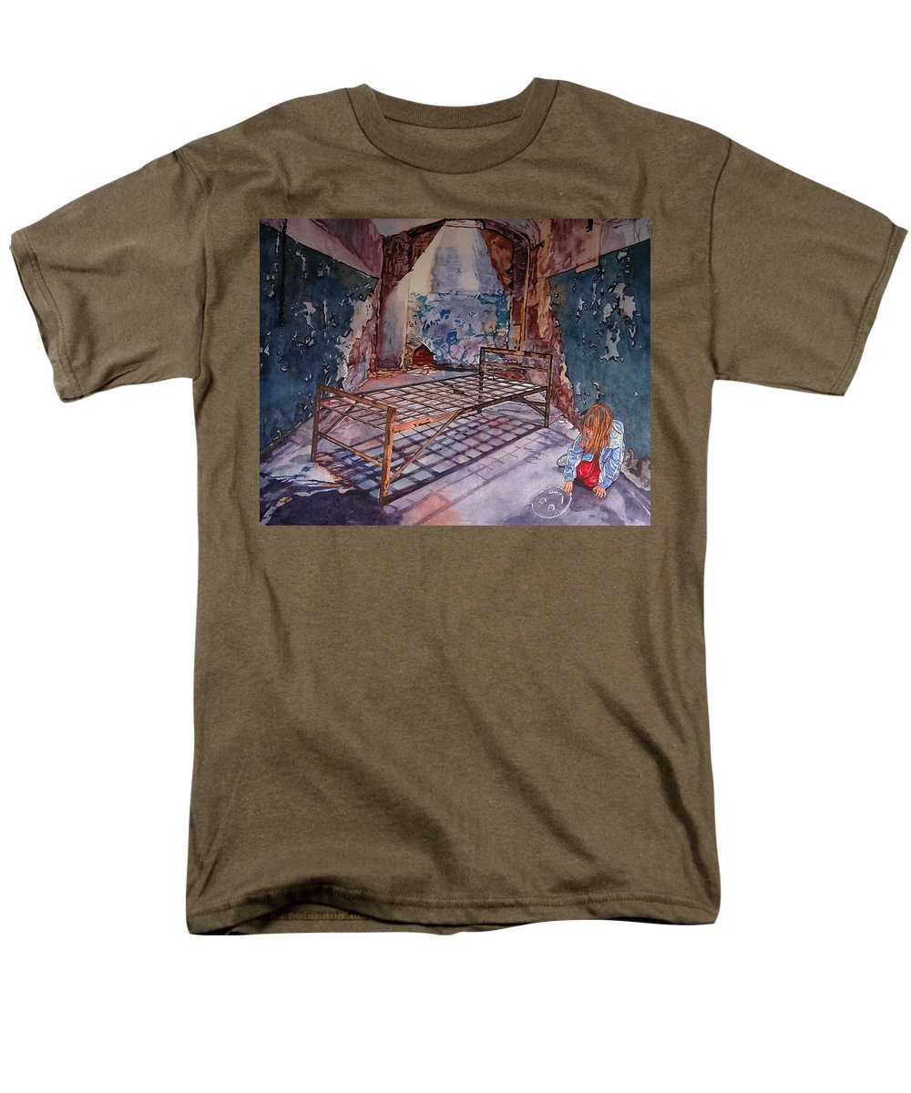 Social Commentary Men's T-Shirt (Regular Fit) featuring the painting Attitude by Valerie Patterson