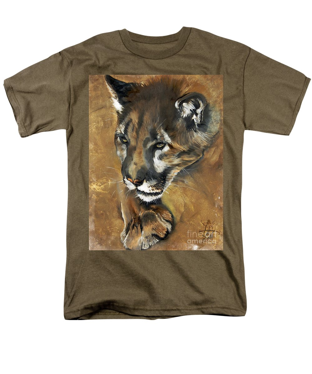 Southwest Art Men's T-Shirt (Regular Fit) featuring the painting Mountain Lion - Guardian Of The North by J W Baker