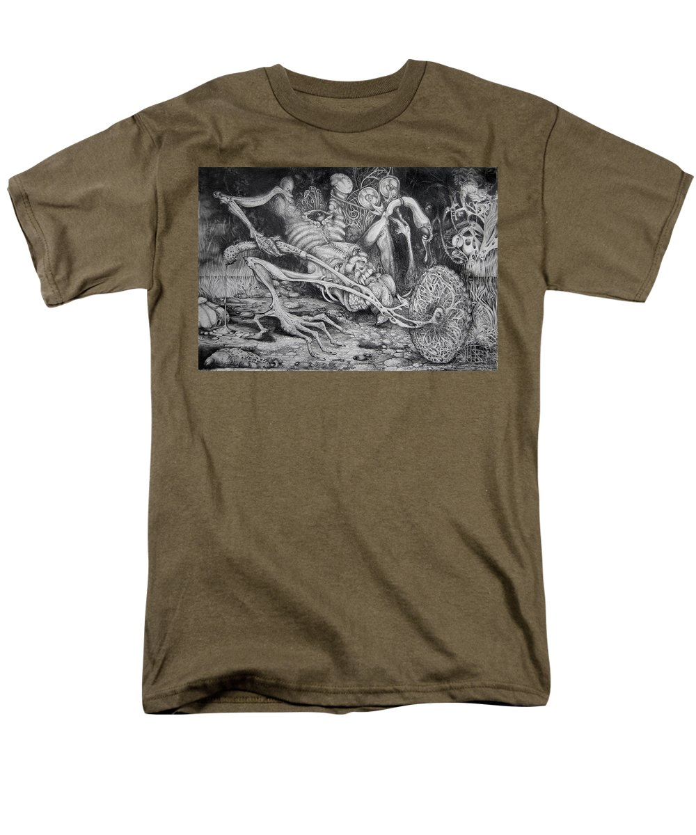 Surrealism Men's T-Shirt (Regular Fit) featuring the drawing Selfpropelled Beastie Seeder by Otto Rapp