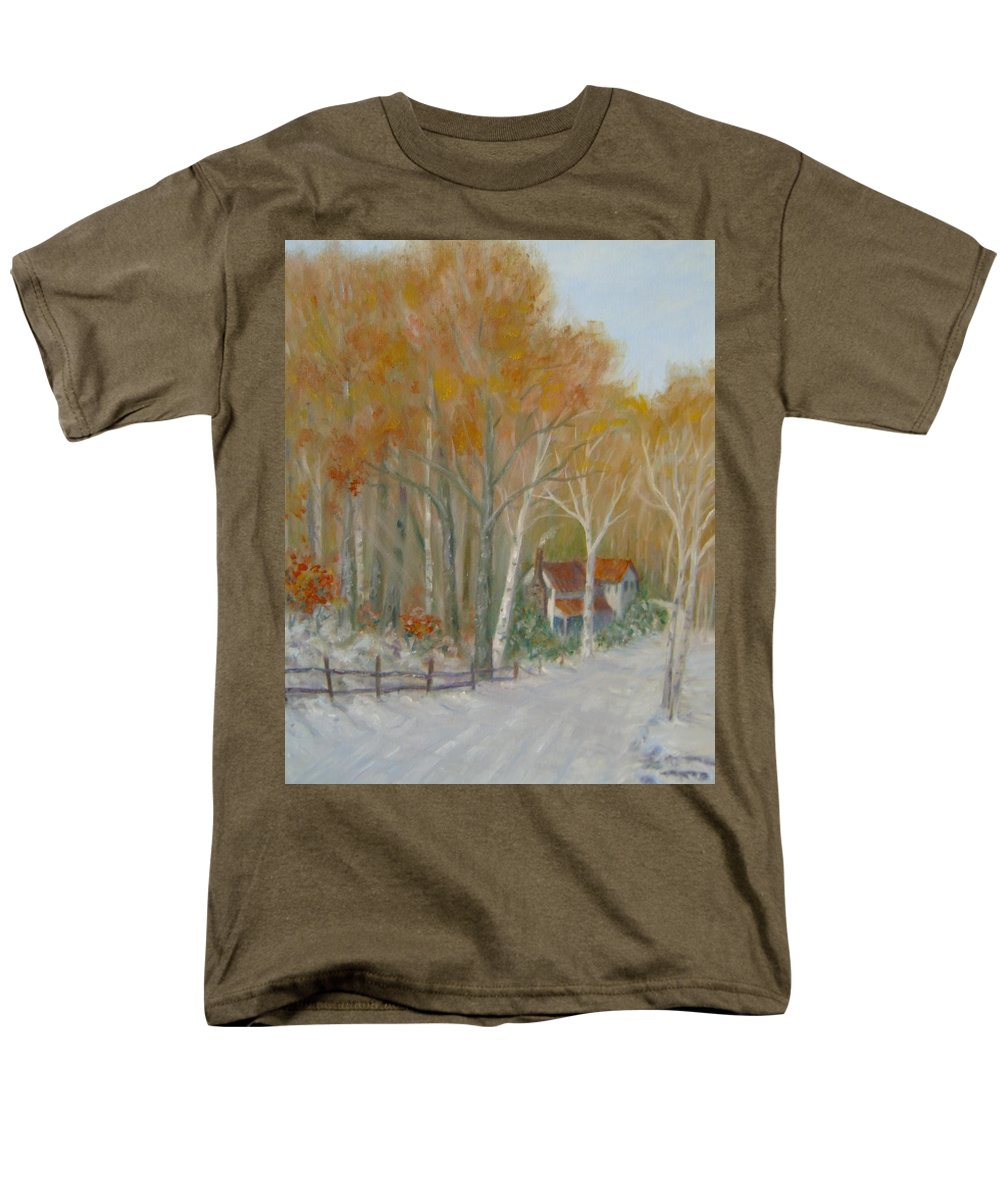 Country Road; House; Snow Men's T-Shirt (Regular Fit) featuring the painting To Grandma's House by Ben Kiger