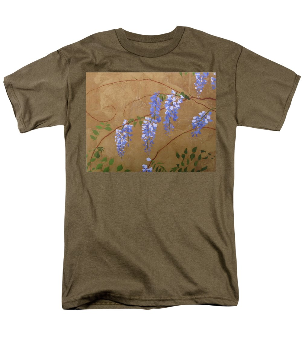 Periwinkle Wisteria Flowers Men's T-Shirt (Regular Fit) featuring the painting Wisteria by Leah Tomaino