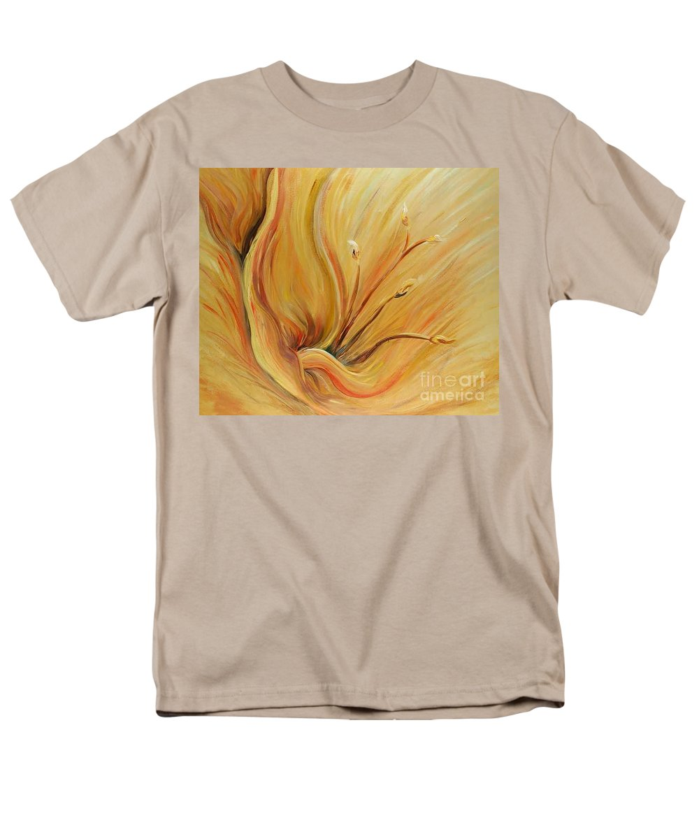 Gold Men's T-Shirt (Regular Fit) featuring the painting Golden Glow by Nadine Rippelmeyer