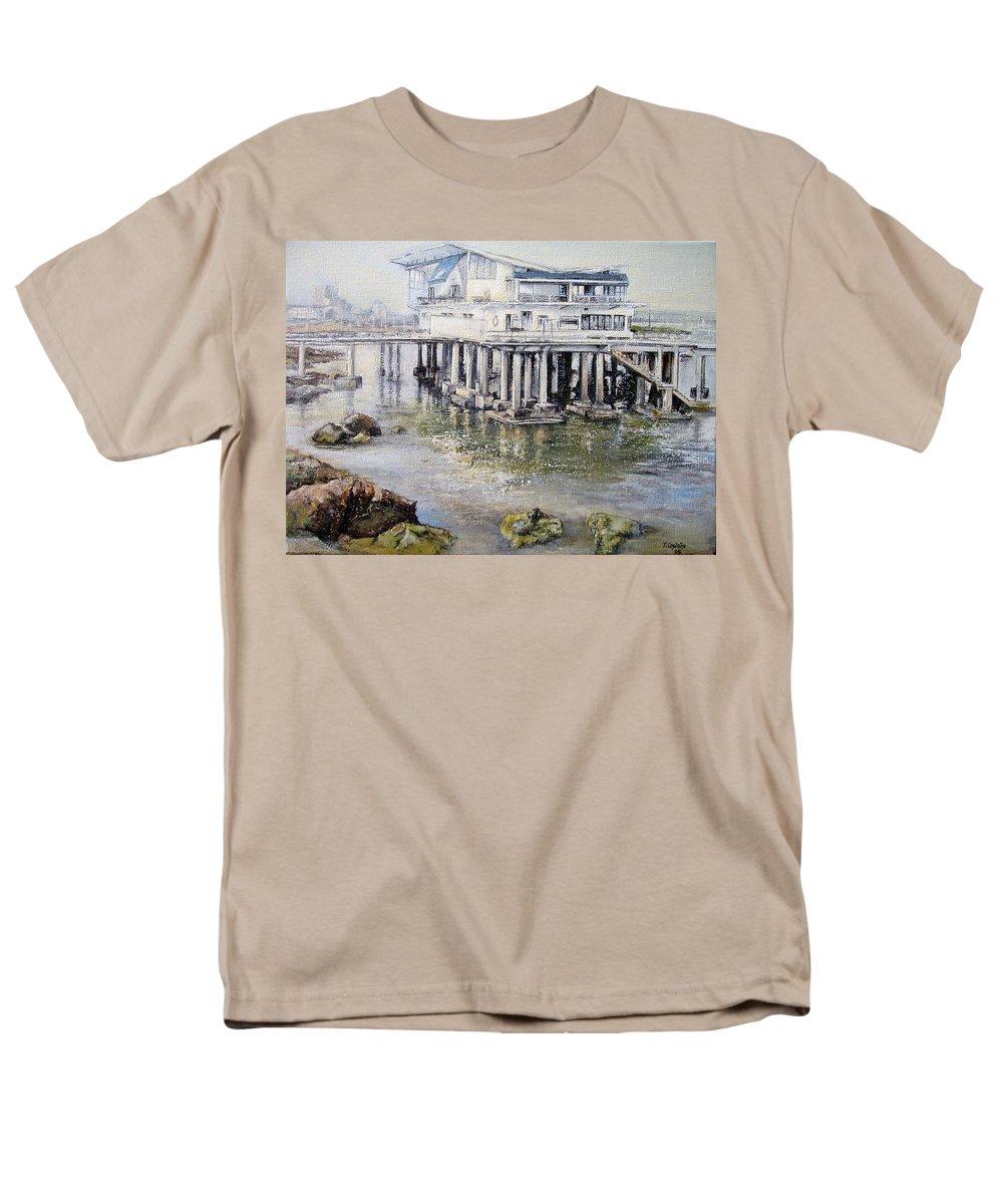 Maritim Men's T-Shirt (Regular Fit) featuring the painting Maritim Club Castro Urdiales by Tomas Castano