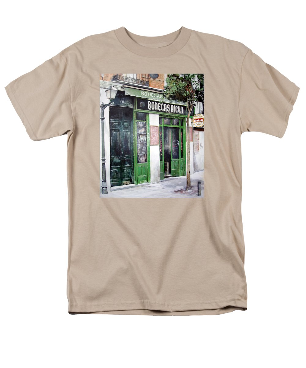 Bodegas Men's T-Shirt (Regular Fit) featuring the painting Old Tavern-madrid by Tomas Castano
