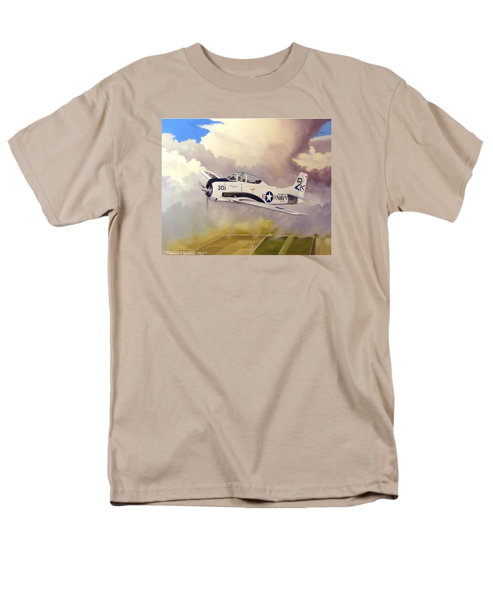 Military Men's T-Shirt (Regular Fit) featuring the painting T-28 Over Iowa by Marc Stewart