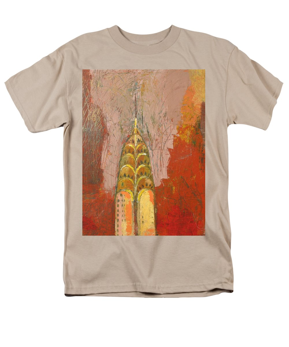 Abstract Cityscape Men's T-Shirt (Regular Fit) featuring the painting The Chrysler In Motion by Habib Ayat