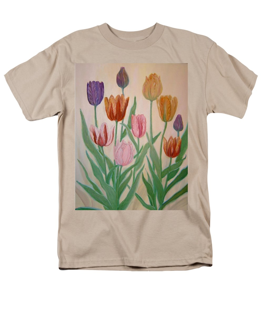 Flowers Of Spring Men's T-Shirt (Regular Fit) featuring the painting Tulips by Ben Kiger