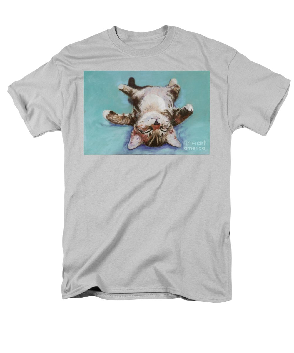 Cat Painting Men's T-Shirt (Regular Fit) featuring the pastel Little Napper by Pat Saunders-White
