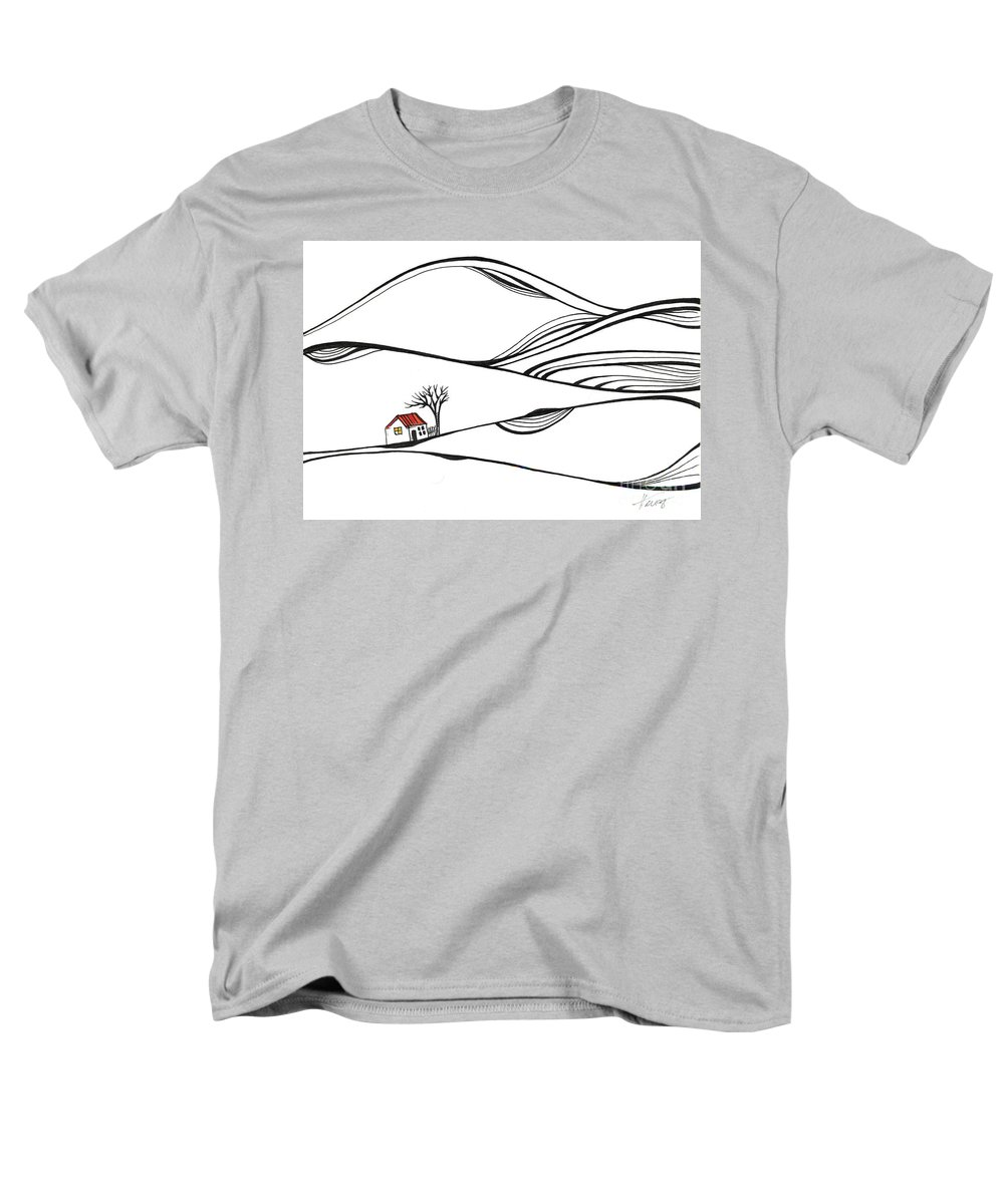 Trees Men's T-Shirt (Regular Fit) featuring the drawing The Place Where Nothing Happens by Aniko Hencz
