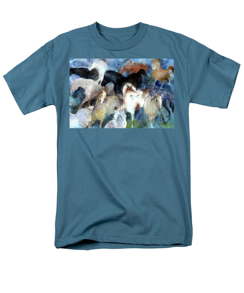 Horses Men's T-Shirt (Regular Fit) featuring the painting Dream Of Wild Horses by Christie Michelsen