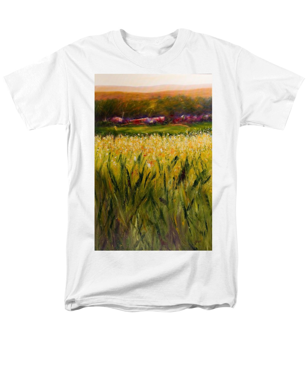 Landscape Men's T-Shirt (Regular Fit) featuring the painting Beyond The Valley by Shannon Grissom