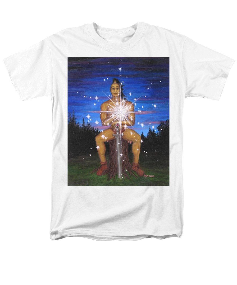 Fantasy Men's T-Shirt (Regular Fit) featuring the painting Protector Of The Mystical Forest by Roz Eve