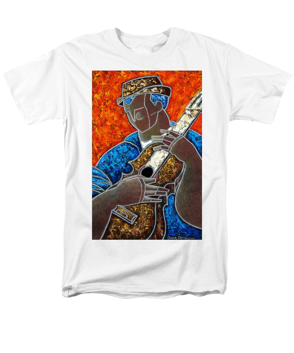 Puerto Rico Men's T-Shirt (Regular Fit) featuring the painting Solo De Cuatro by Oscar Ortiz