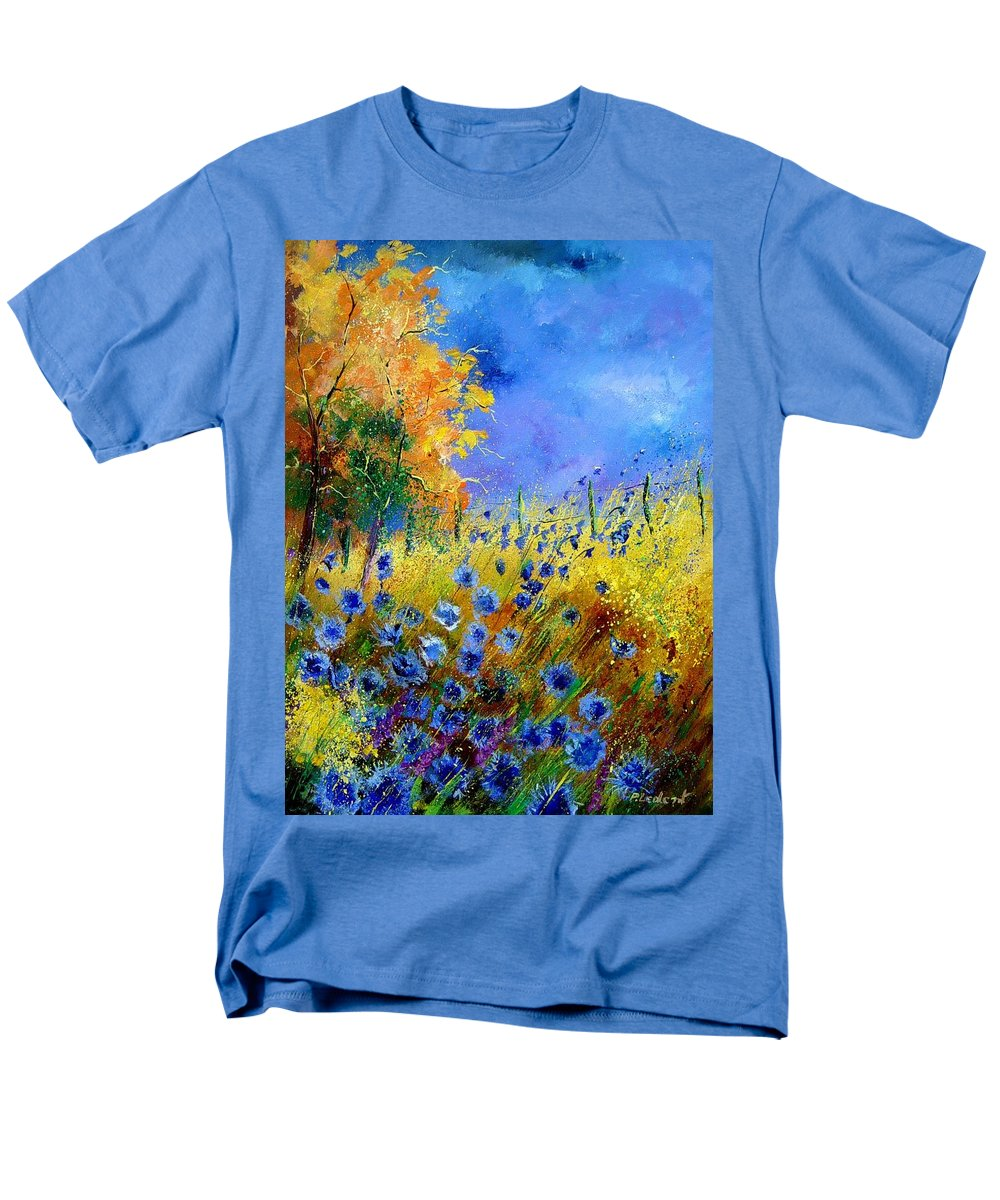 Poppies Men's T-Shirt (Regular Fit) featuring the painting Orange Tree And Blue Cornflowers by Pol Ledent
