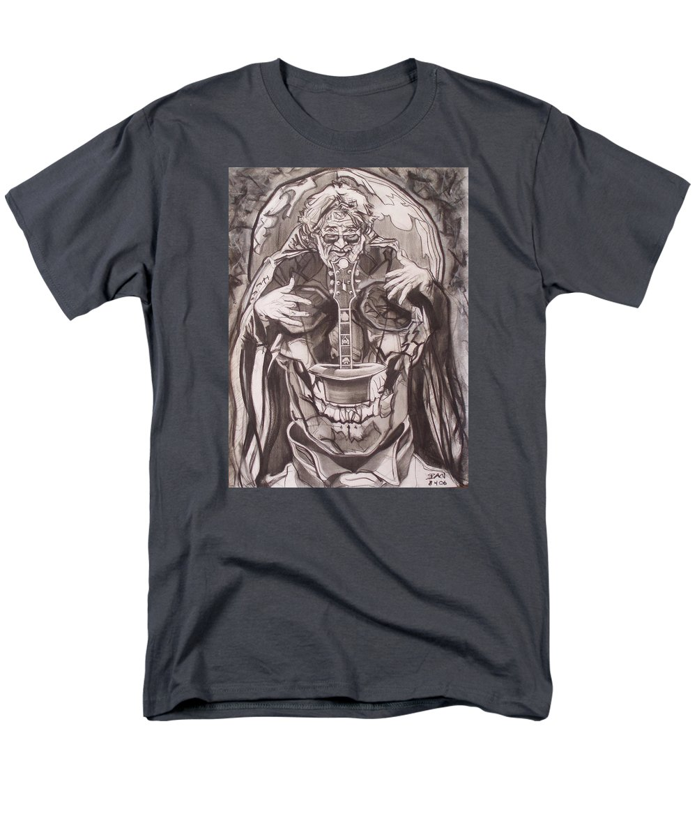 Charcoal; Skull;guitar;music;magic;mystic;wizard;cape;hat;shades;grateful Dead;deadheads Men's T-Shirt (Regular Fit) featuring the drawing Jerry Garcia . . Magic Is What We Do - Music Is How We Do It by Sean Connolly