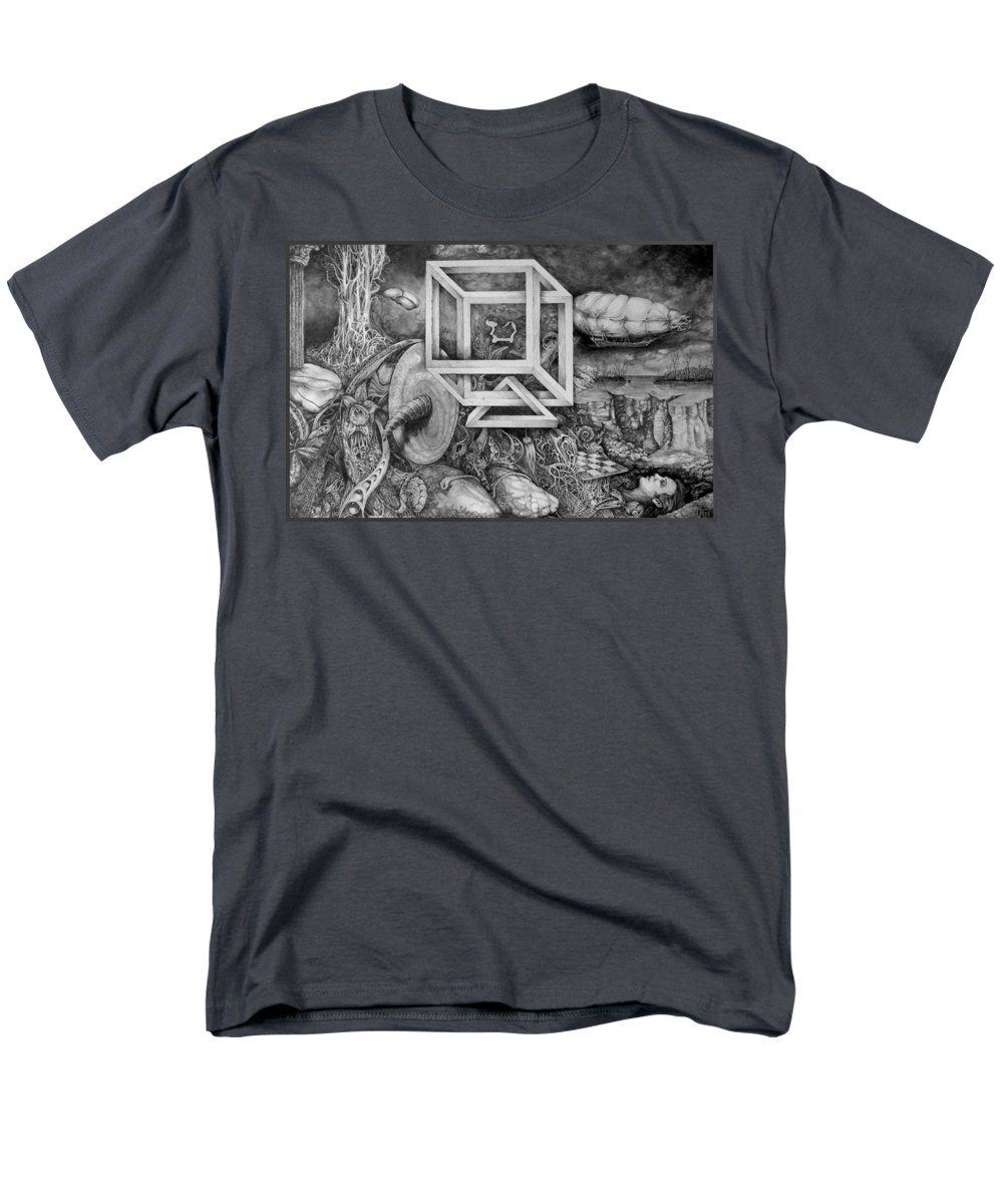 Drawing Men's T-Shirt (Regular Fit) featuring the drawing Axis Mundi by Otto Rapp
