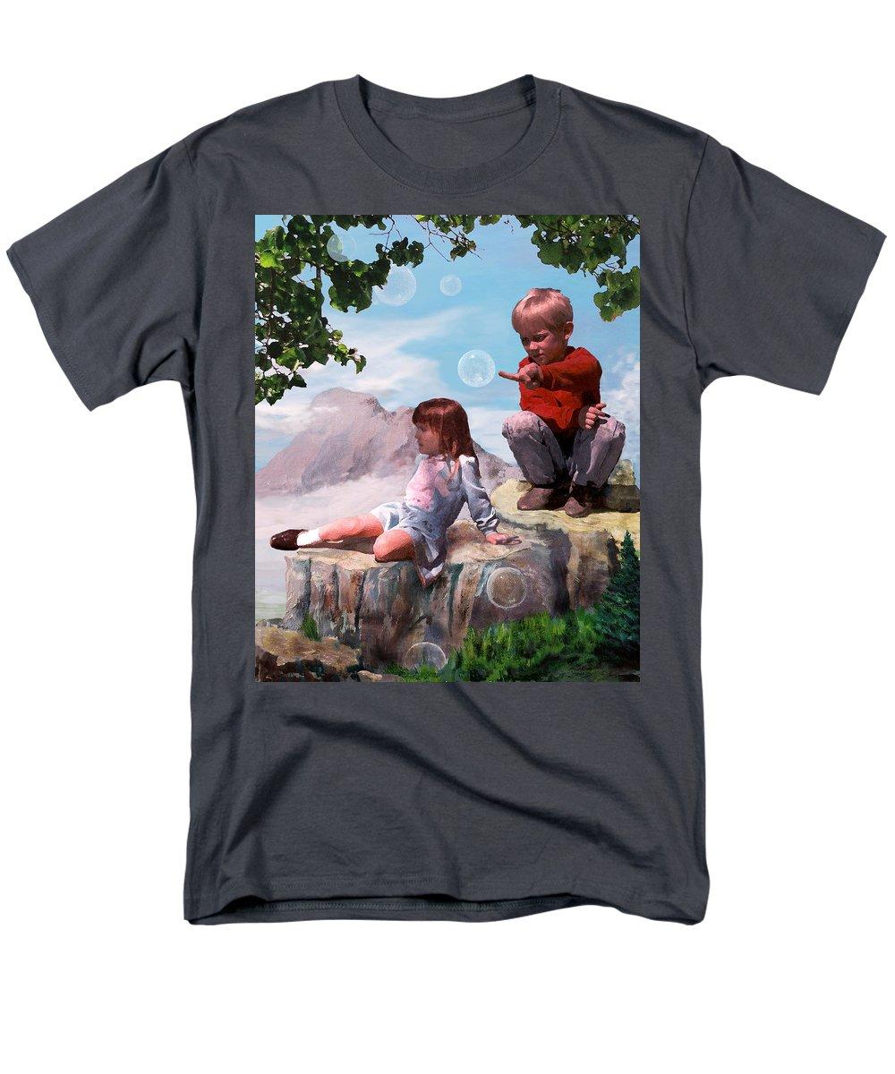 Landscape Men's T-Shirt (Regular Fit) featuring the painting Mount Innocence by Steve Karol
