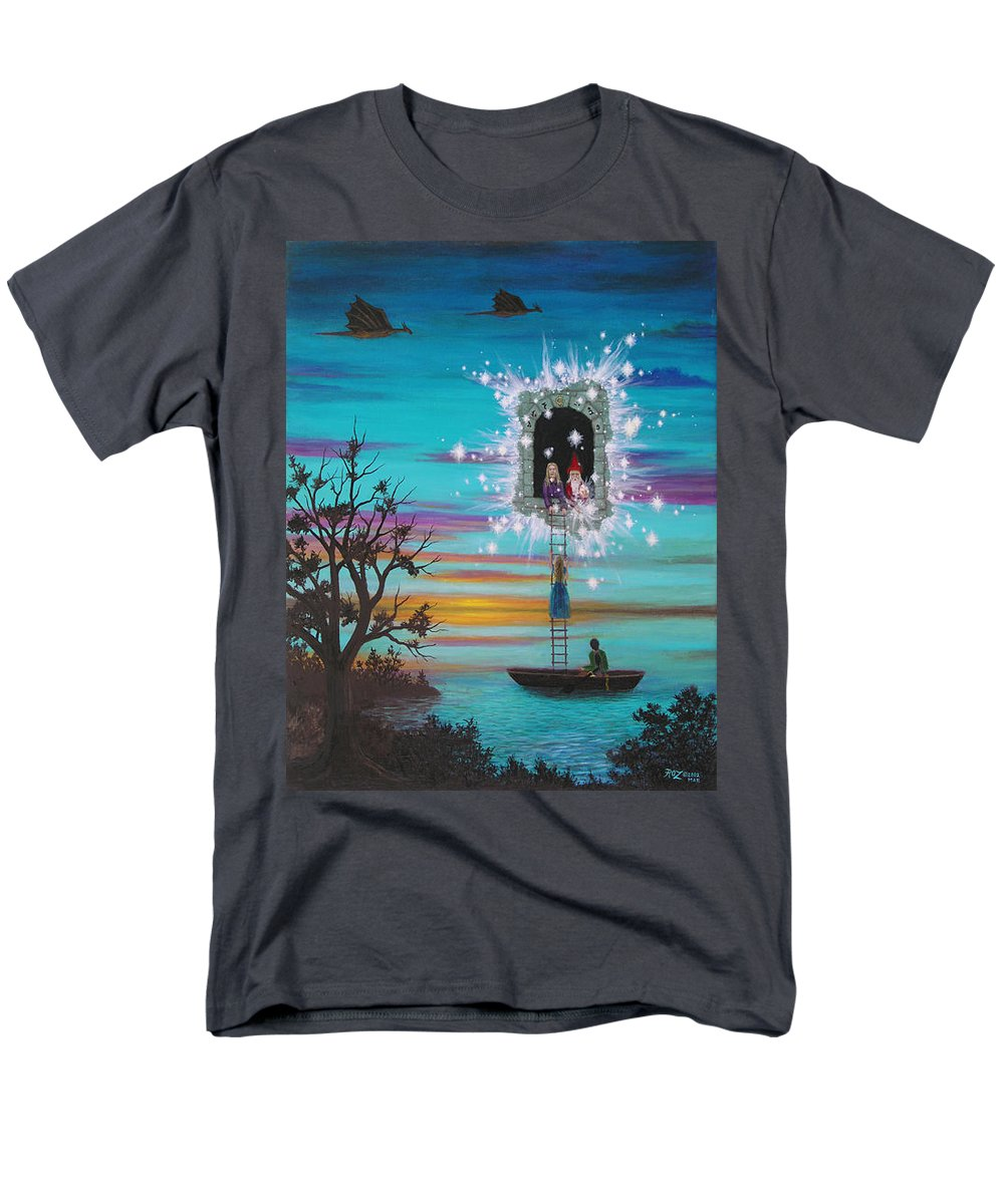 Fantasy Men's T-Shirt (Regular Fit) featuring the painting Sky Window by Roz Eve