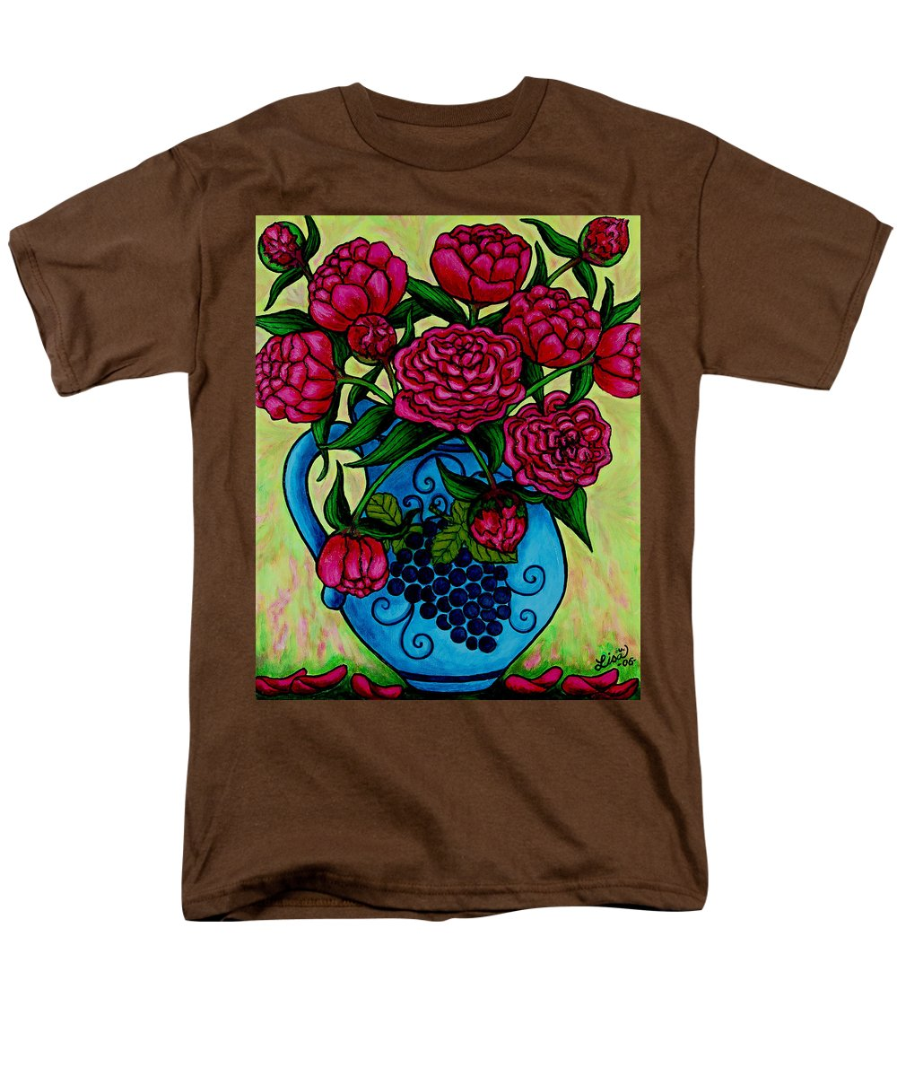 Peonies Men's T-Shirt (Regular Fit) featuring the painting Peony Party by Lisa Lorenz
