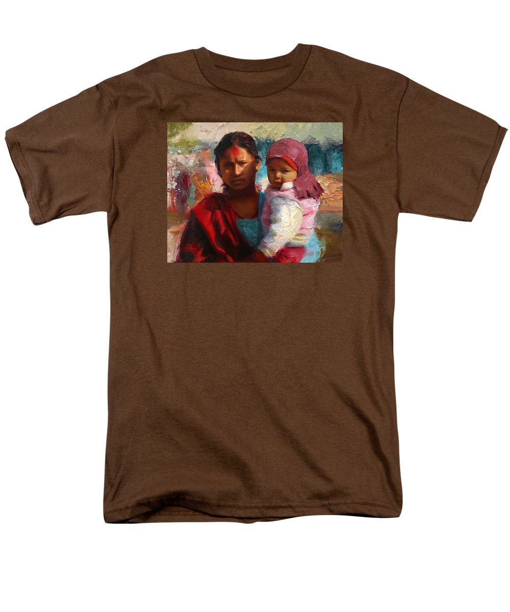 Red and blue portrait of nepalese mother and child t shirt for Red and blue t shirt