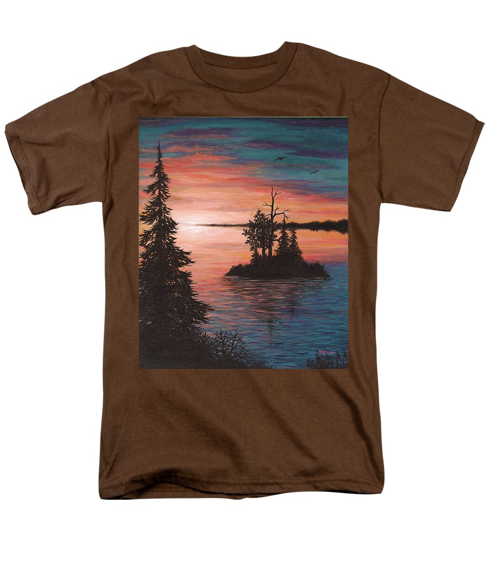 Sunset Men's T-Shirt (Regular Fit) featuring the painting Sunset Island by Roz Eve