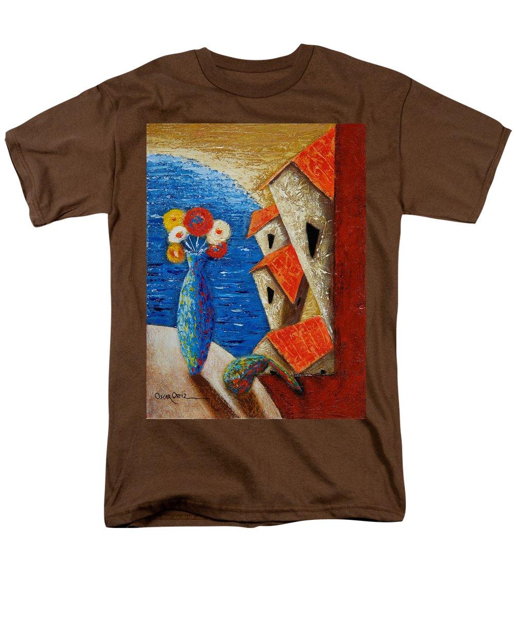 Landscape Men's T-Shirt (Regular Fit) featuring the painting Ventana Al Mar by Oscar Ortiz