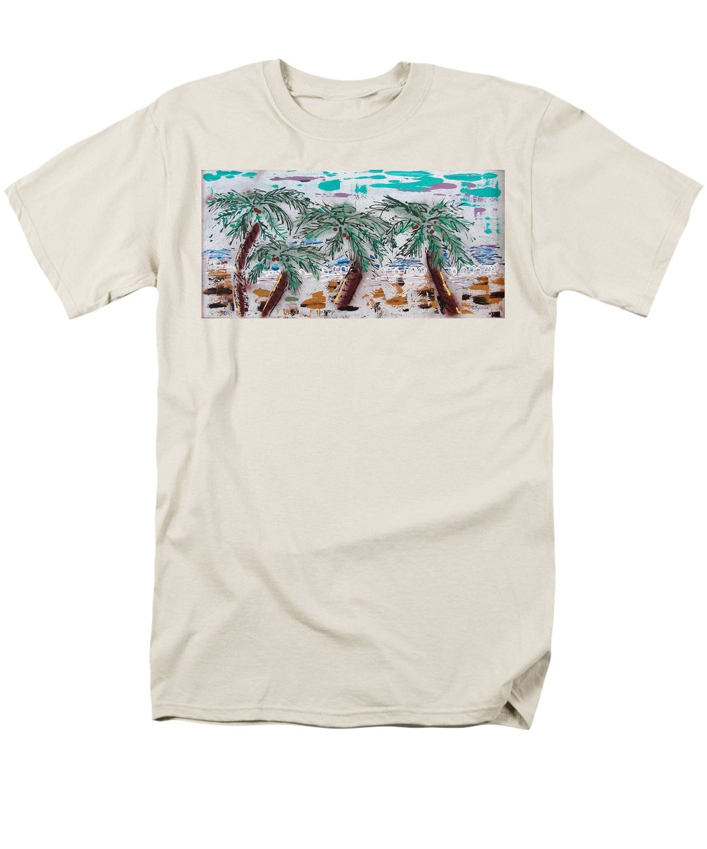 Palm Trees Men's T-Shirt (Regular Fit) featuring the painting Surf N Palms by J R Seymour