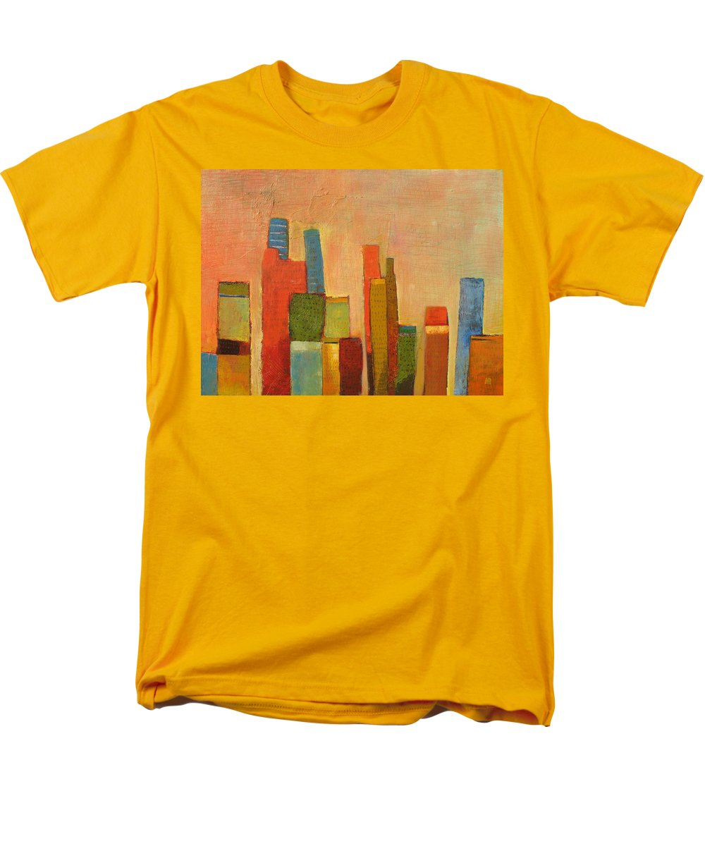 Abstract Cityscape Men's T-Shirt (Regular Fit) featuring the painting Hot Manhattan by Habib Ayat