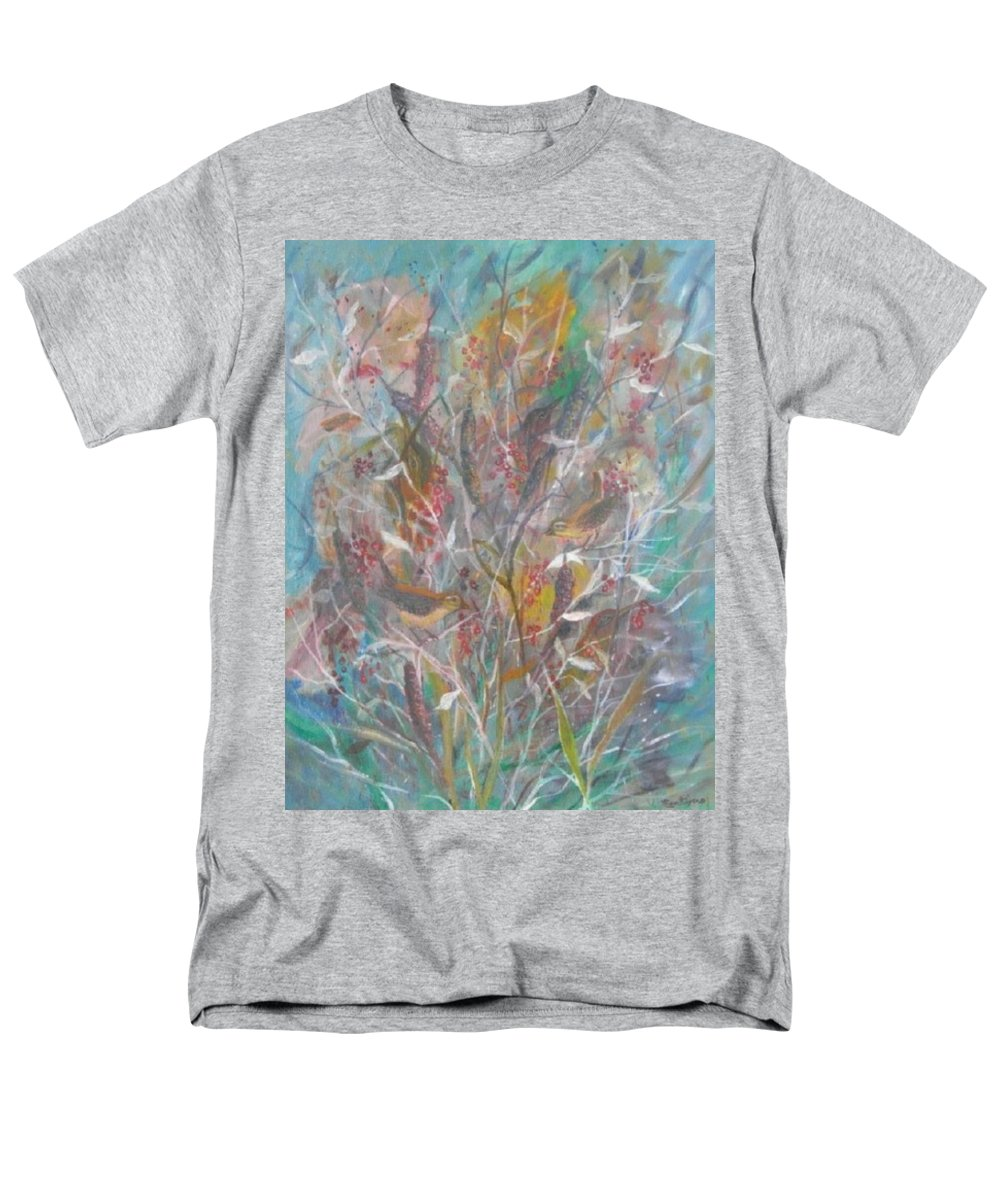Birds Men's T-Shirt (Regular Fit) featuring the painting Birds In A Bush by Ben Kiger