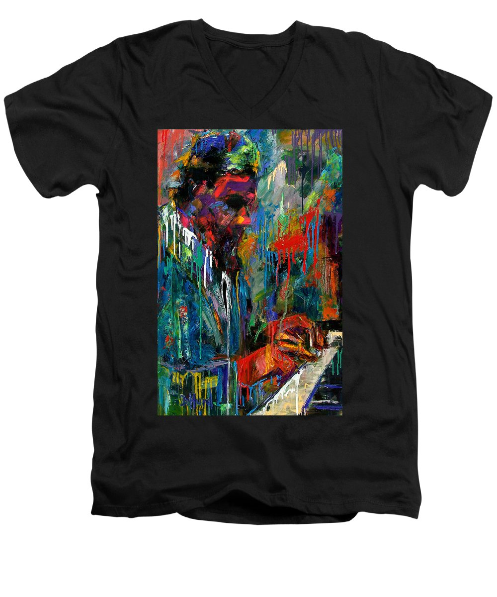 Painting Men's V-Neck T-Shirt featuring the painting Round Midnight by Debra Hurd