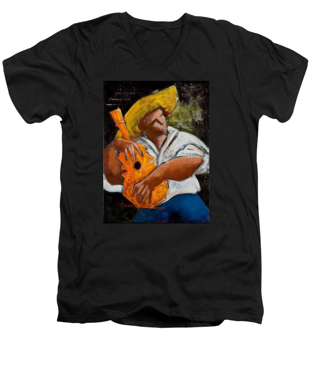 Puerto Rico Men's V-Neck T-Shirt featuring the painting Bravado Alla Prima by Oscar Ortiz