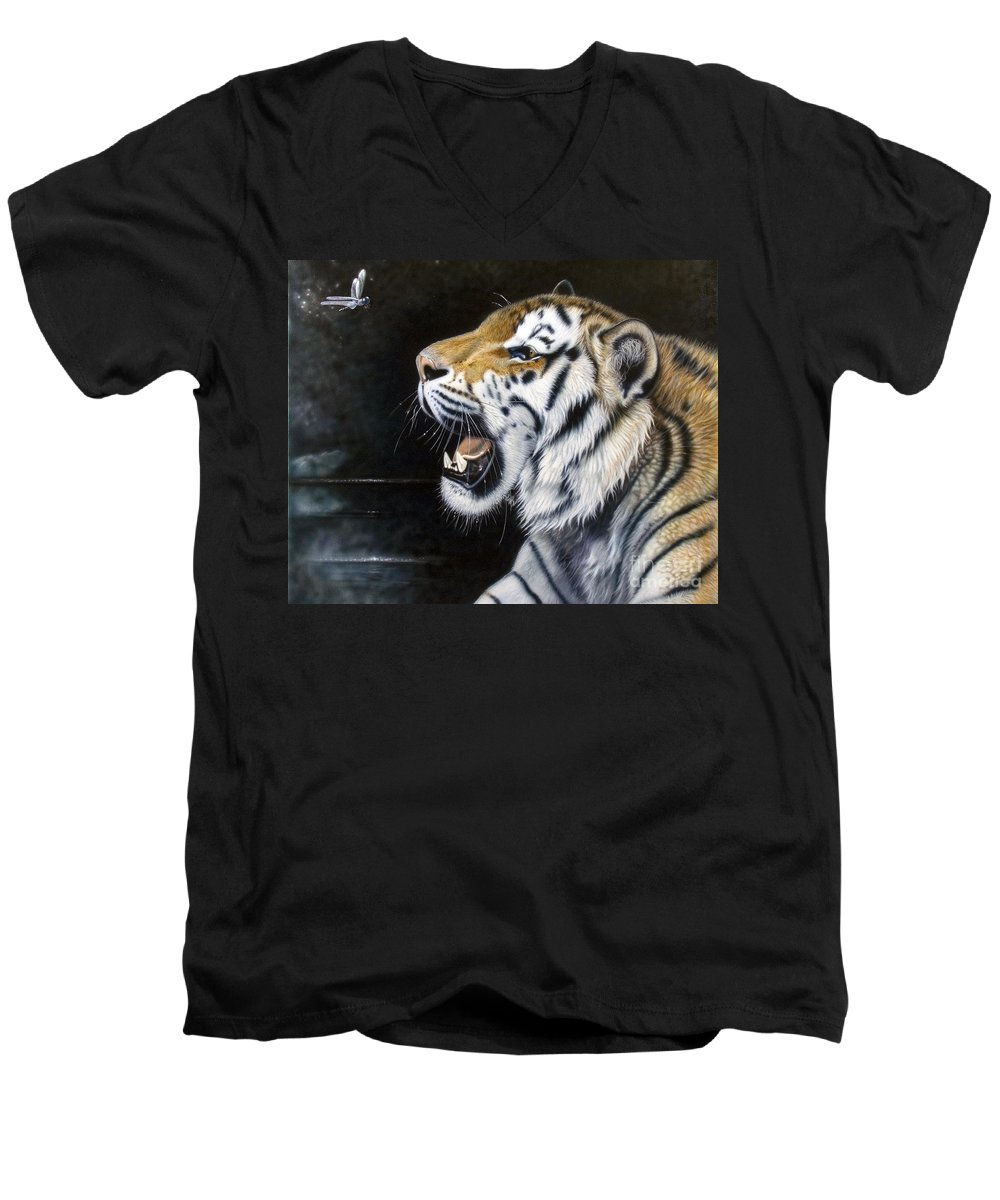 Tiger Men's V-Neck T-Shirt featuring the painting Dragonfly by Sandi Baker