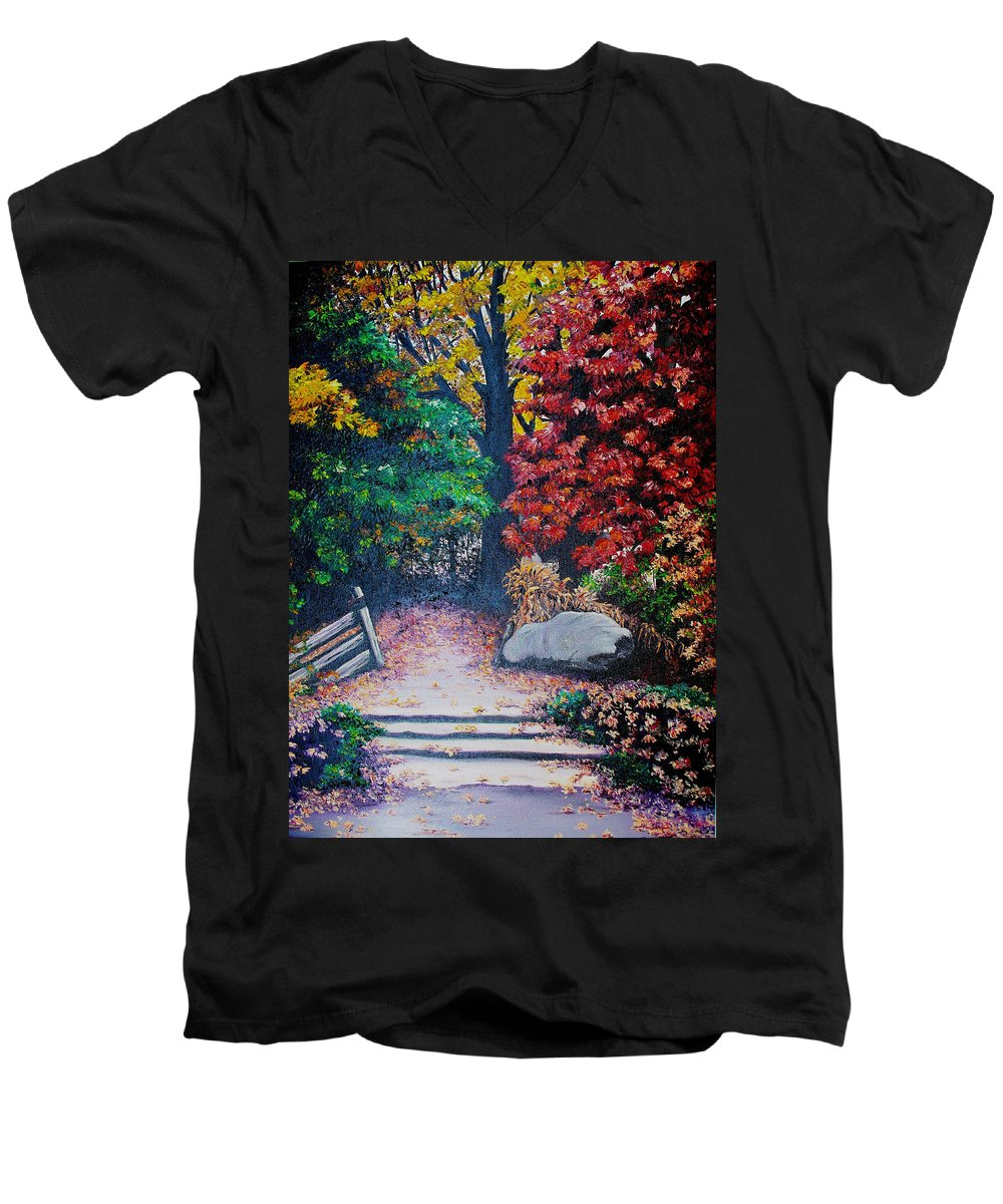 A N Original Painting Of An Autumn Scene In The Gateneau In Quebec Men's V-Neck T-Shirt featuring the painting Fall In Quebec Canada by Karin Dawn Kelshall- Best